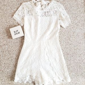 White lace romper perfect for bachelorette